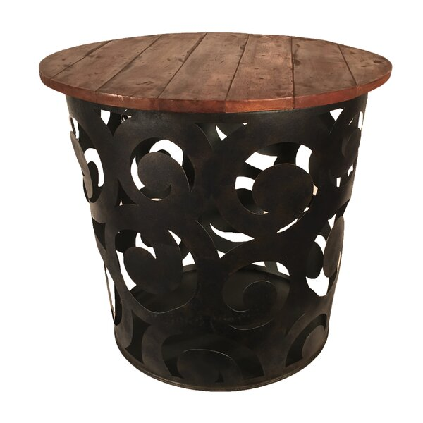 Outdoor/Indoor Drum Spiral Metal Side Table by Eangee Home Design