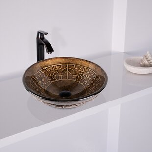 Inexpensive Golden Greek Glass Circular Vessel Bathroom Sink with Faucet By VIGO