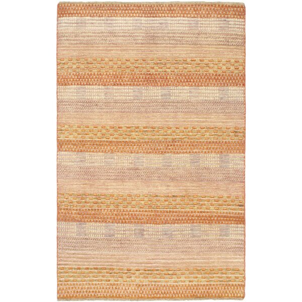 One-of-a-Kind Rolling Hills Estates Hand-Knotted Wool Light Orange/Beige Area Rug by Bungalow Rose