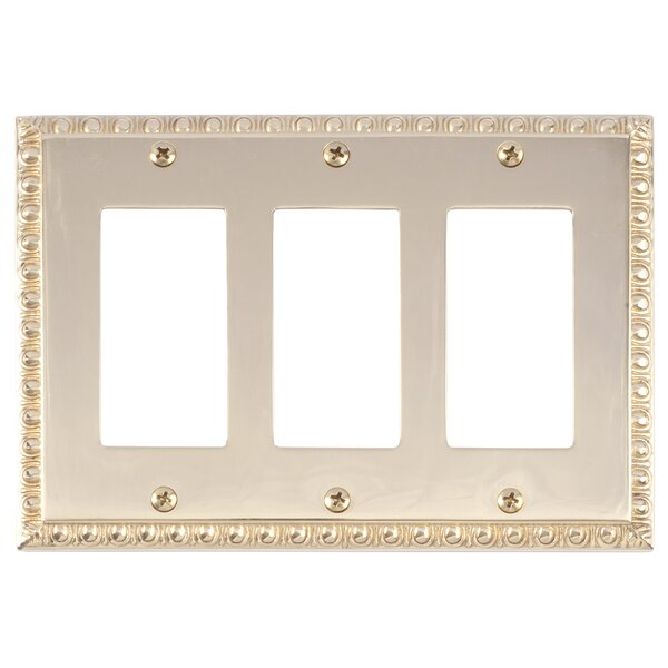 Egg and Dart Triple GFCI Light Switch or Socket Plate by BRASS Accents