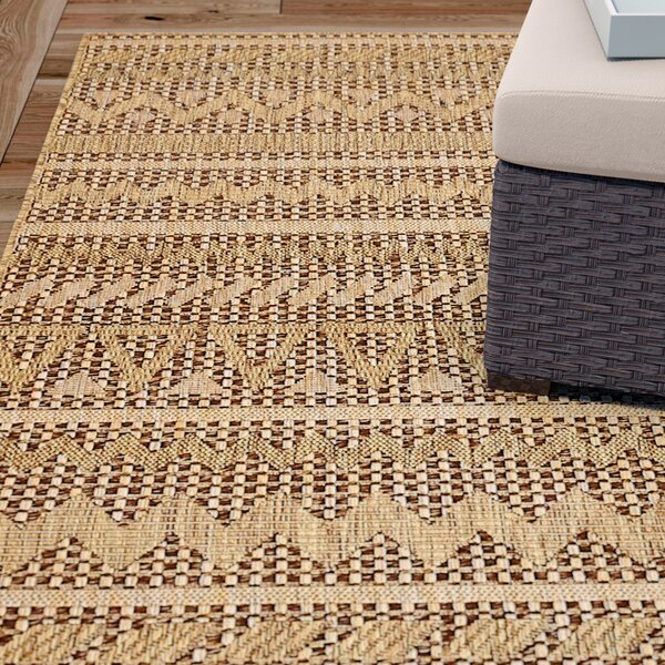 Krystal Light Brown Outdoor Area Rug by Mistana