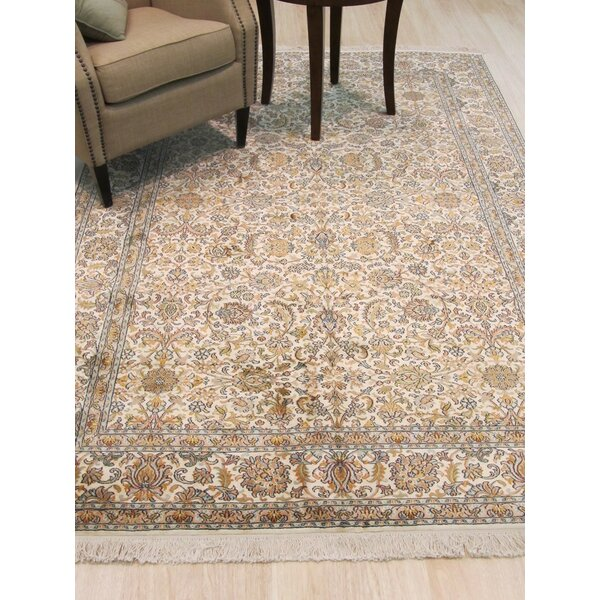 Kashmir Hand-Knotted Ivory Area Rug by Eastern Rugs