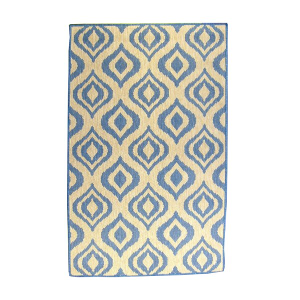 Ikat Blue/Natural Indoor/Outdoor Area Rug by lava