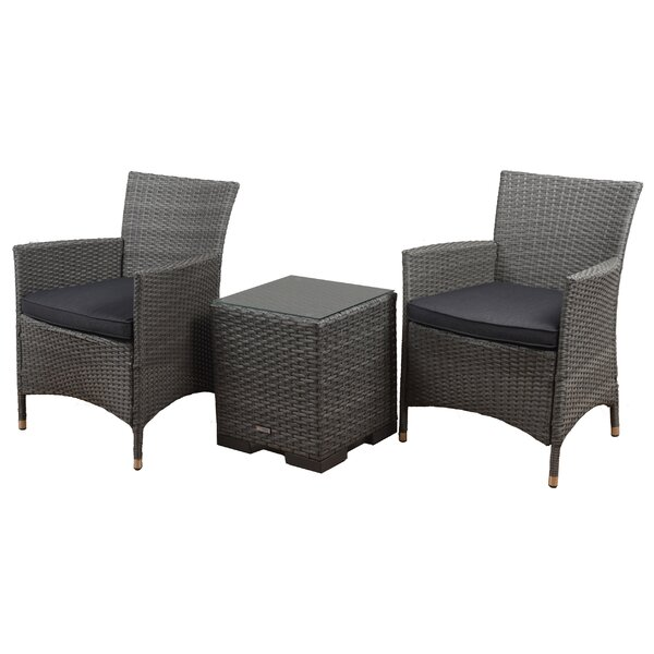 Bellfield 3 Piece Conversation Set with Cushions by Wrought Studio