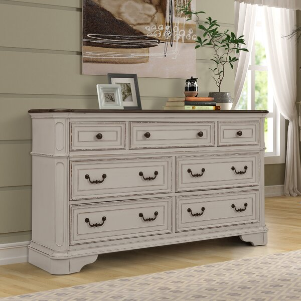 Lilia Oak Wood 7 Drawer Dresser by One Allium Way