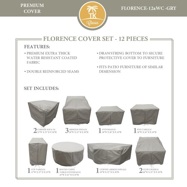 Forence 12 Piece Water Resistant Patio Furniture Cover Set by TK Classics
