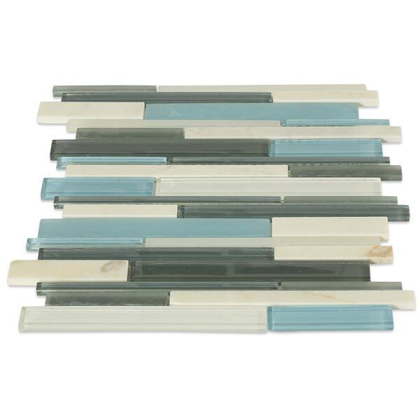 Cleveland Random Sized Glass/Marble Mosaic Tile in Frosted Blue/Gray by Splashback Tile