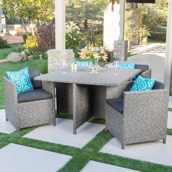 Smail Outdoor 5 Piece Dining Set by Mercury Row