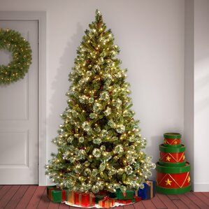 pine prelit 7u0027 pine artificial christmas tree with 650 clear lights and stand - Prelit Christmas Tree