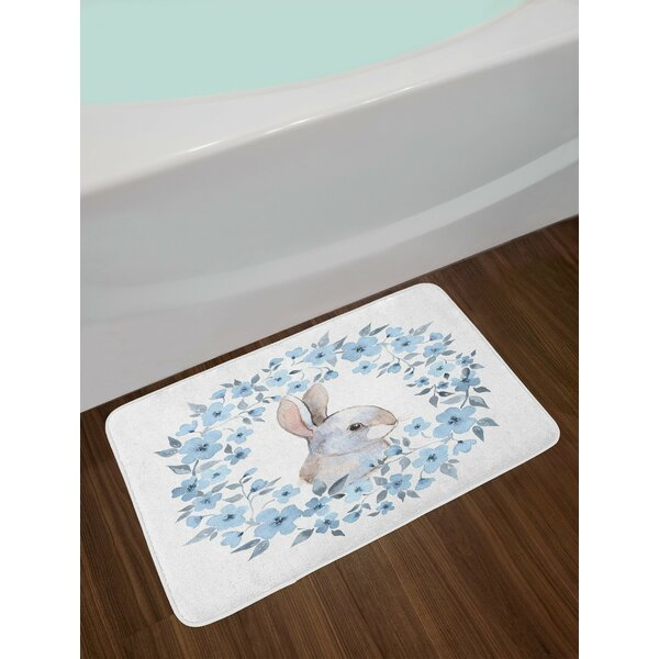 Watercolor Flower Bunny Rabbit Portrait in Floral Wreath Illustration Non-Slip Plush Bath Rug by East Urban Home