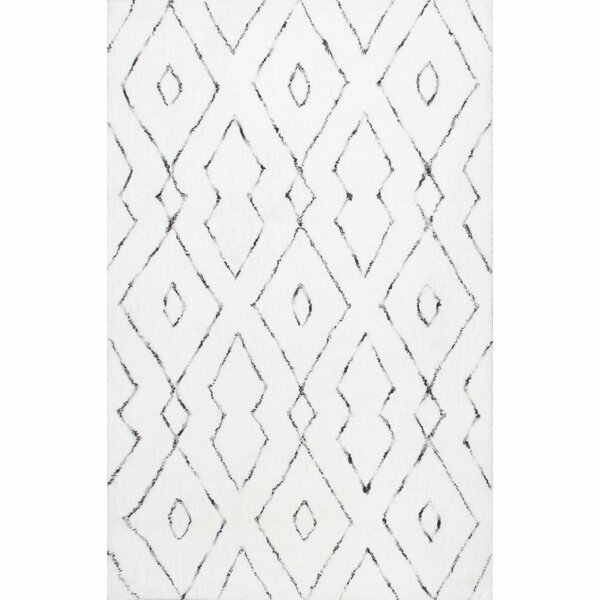 Peraza Hand-Tufted White Area Rug by Mercury Row