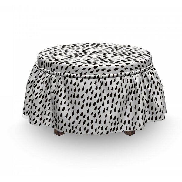 Monochrome Water Raindrops Ottoman Slipcover (Set Of 2) By East Urban Home