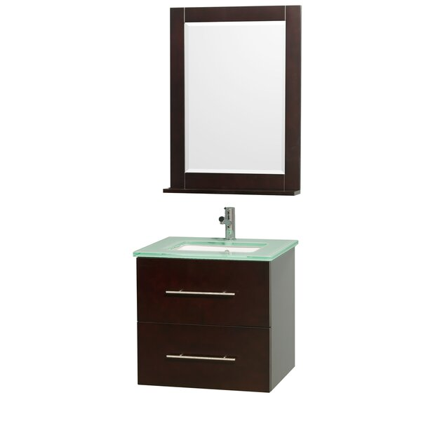 Centra 24 Single Espresso Bathroom Vanity Set with Mirror by Wyndham Collection
