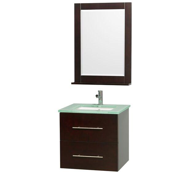 Centra 24 Single Espresso Bathroom Vanity Set with Mirror by Wyndham Collection