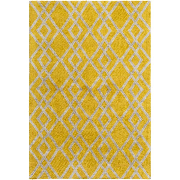 Bradt Hand-Tufted Yellow Area Rug by Wrought Studio