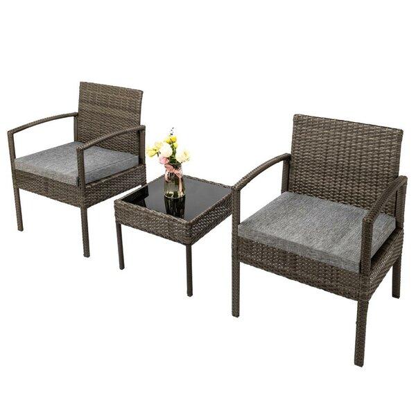 Alexias 3 Piece Garden Seating Group with Cushions by Latitude Run