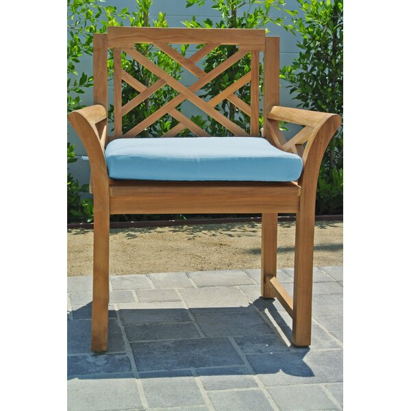 Wentworth Teak Patio Dining Chair with Cushion (Set of 2) by Foundry Select