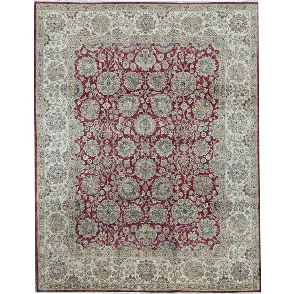 Oriental Hand-Knotted 7.11' x 10.2' Wool Red/Ivory Area Rug