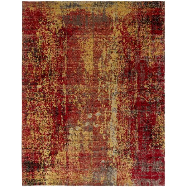 Bumgardner Red/Yellow Indoor/Outdoor Area Rug by Wrought Studio