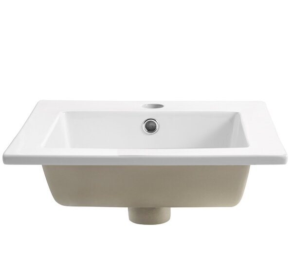 Allier Ceramic Square Drop-In Bathroom Sink with Overflow by Fresca