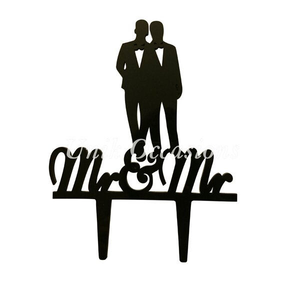 Gay Couple Silhouette Mr & Mr Acrylic Wedding Cake Topper by Unik Occasions