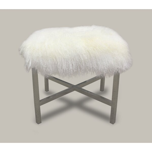 White Tibetan Lamb Stainless Steel Cross Stool by Chesterfield Leather