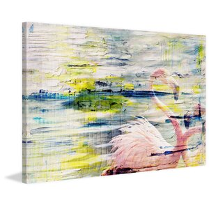 'Flamingo Style' by Parvez Taj Painting Print on Wrapped Canvas by Parvez Taj