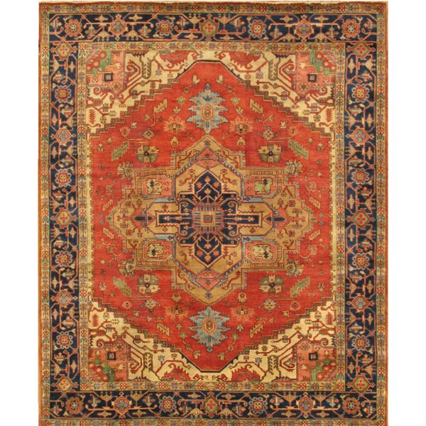 Serapi Tribal Hand-Knotted Wool Red/Navy Area Rug by Pasargad