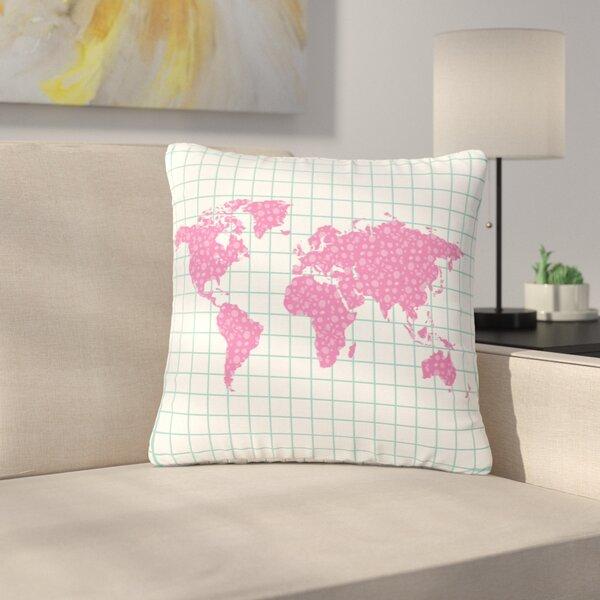 Famenxt Grid Map Digital Outdoor Throw Pillow by East Urban Home