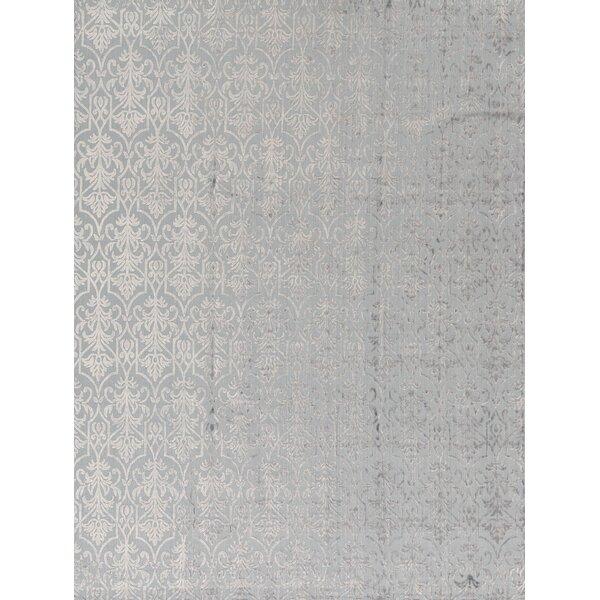 Jakat Damask Hand-Knotted Wool Light Blue Area Rug