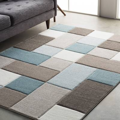 Wrought Studio Mott Street Aqua Dark Brown Area Rug Reviews Wayfair