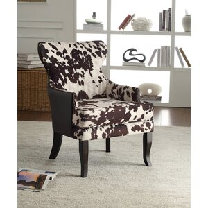 Faux Cowhide Accent Wing back Chair by !nspire