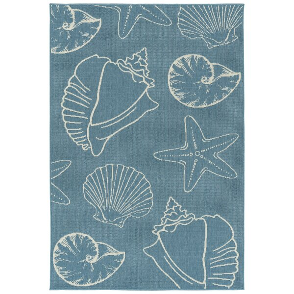 Augu Light Blue Indoor/Outdoor Area Rug by Rosecliff Heights