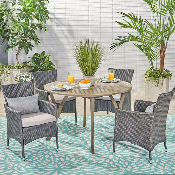 Murdock 5 Piece Dining Set With Cushions By August Grove