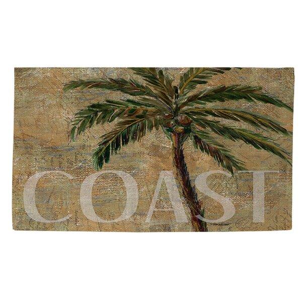 Coastal Palm Postcard Beige Area Rug by Manual Woodworkers & Weavers