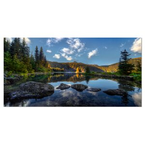 'Mountain Lake Surrounded by Trees' Photographic Print on Wrapped Canvas by Design Art