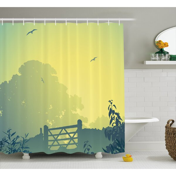 Waverly Clouds Trees Gulls Shower Curtain by Winston Porter