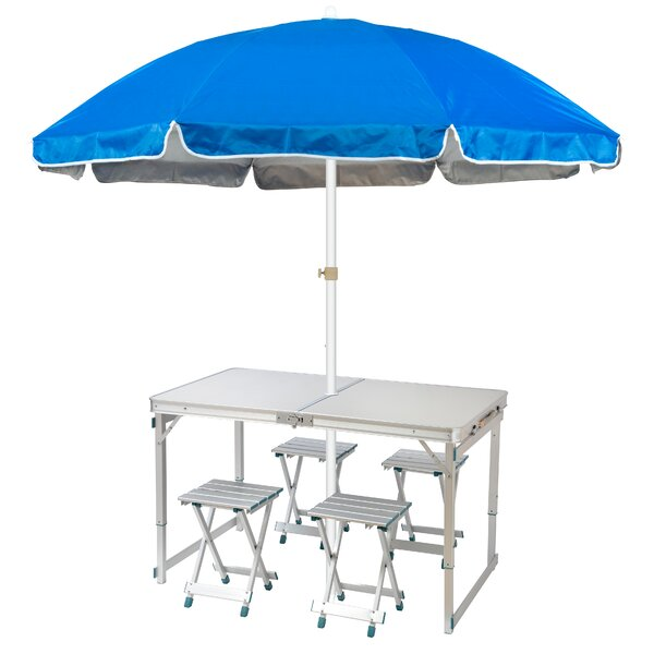 Brasfield Lightweight Folding Camp Table 6.5' Drape Umbrella by Freeport Park Freeport Park
