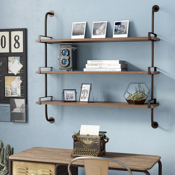 Wood Shelf With Metal Brackets | Wayfair