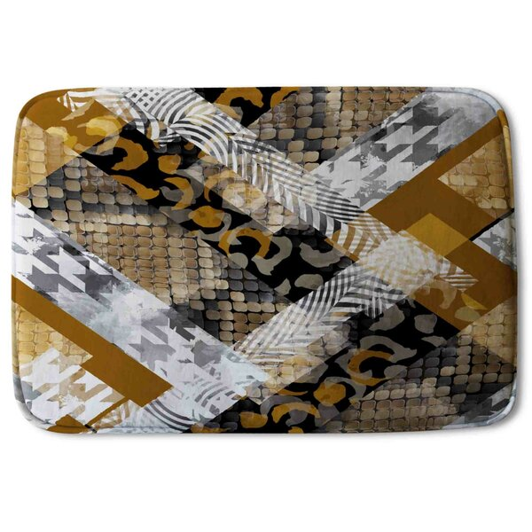 Keera Snake Skin Designer Rectangle Non-Slip Animal Print Bath Rug