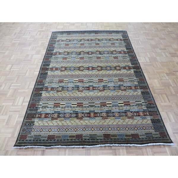 One-of-a-Kind Padula Gabbeh Hand-Knotted Wool Black/Brown Area Rug by Bloomsbury Market