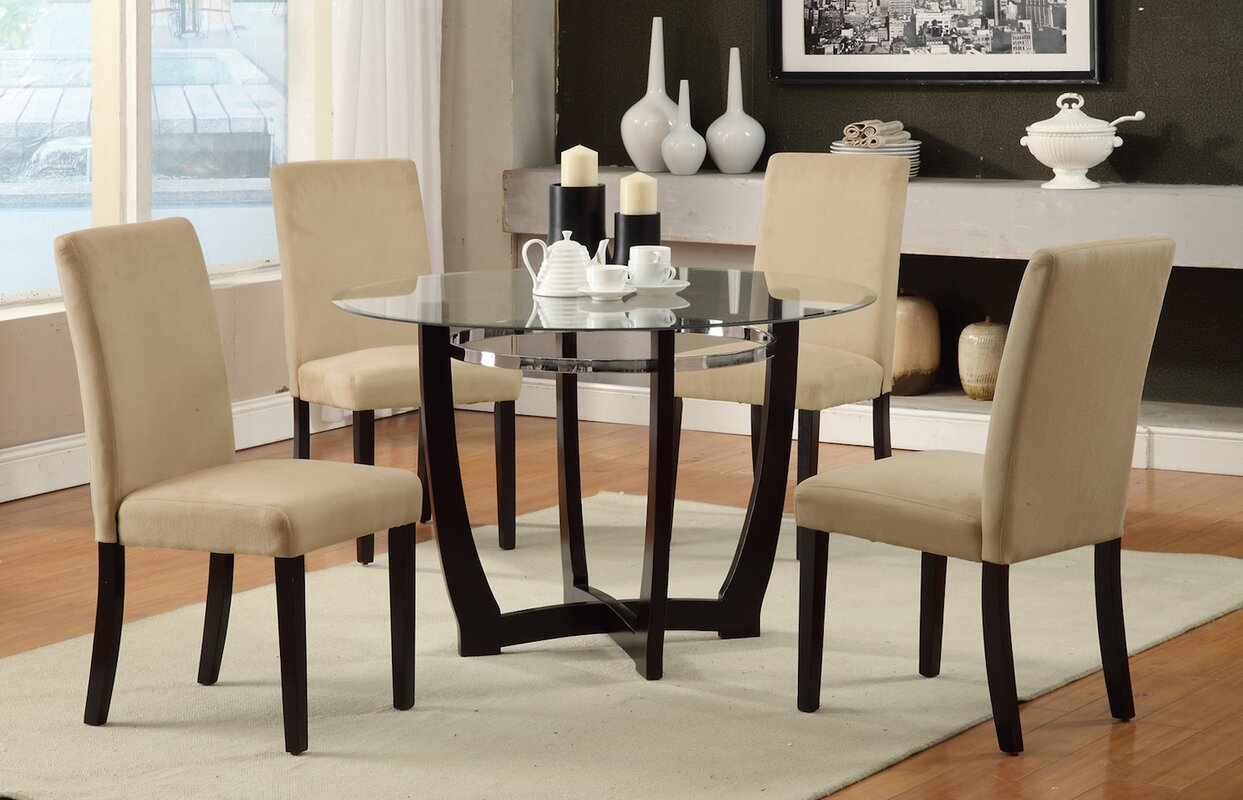 Oval glass dining table with wood base 40 glass dining room tables to - 5 Piece Dining Set