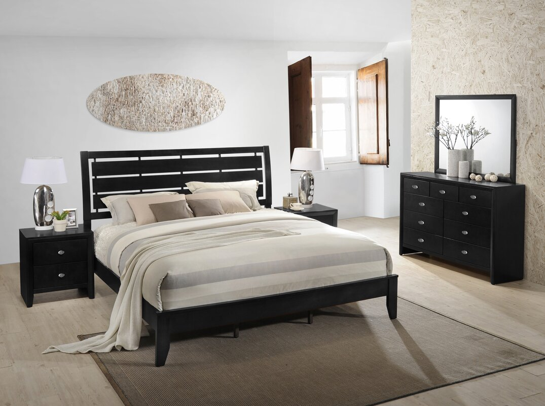 Roundhill Furniture Gloria Panel 5 Piece Bedroom Set | Wayfair