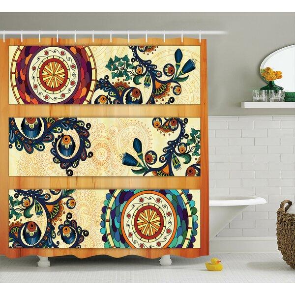 Centinela Batik Oriental Vintage Paisley Batik Pattern With Eastern Motifs Shower Curtain by World Menagerie