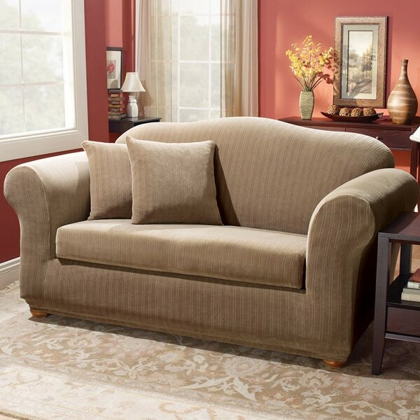 Stretch Pinstripe Box Cushion Loveseat Slipcover By Sure Fit