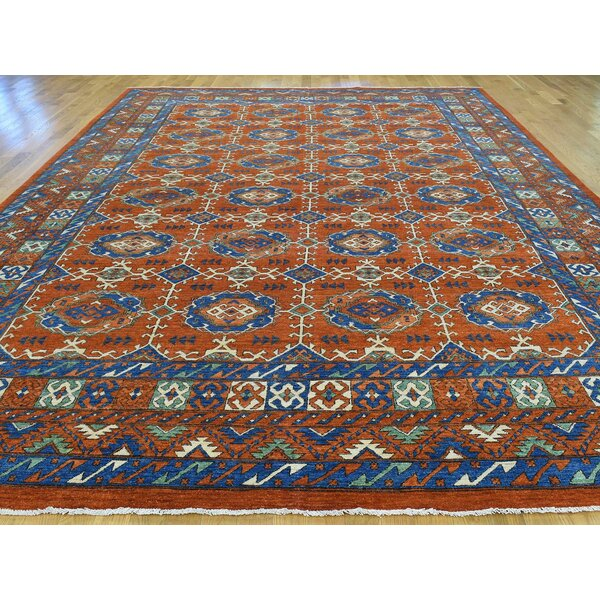 One-of-a-Kind Beaulieu Sari Afghan Hand-Knotted Orange Wool Area Rug by Isabelline