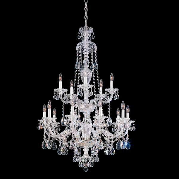 Sterling 15-Light Candle Style Tiered Chandelier by Schonbek Schonbek