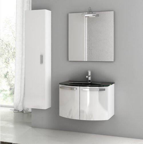 Crystal Dance 30 Wall-Mounted Single Bathroom Vanity Set with Mirror by ACF Bathroom Vanities