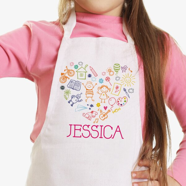 Happy Heart Personalized Kids Craft Apron by Monogramonline Inc.