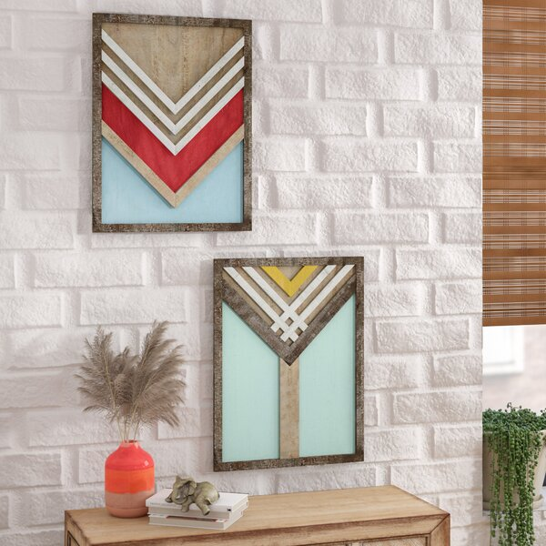 2 Piece Framed Print Set on Wood by Bungalow Rose